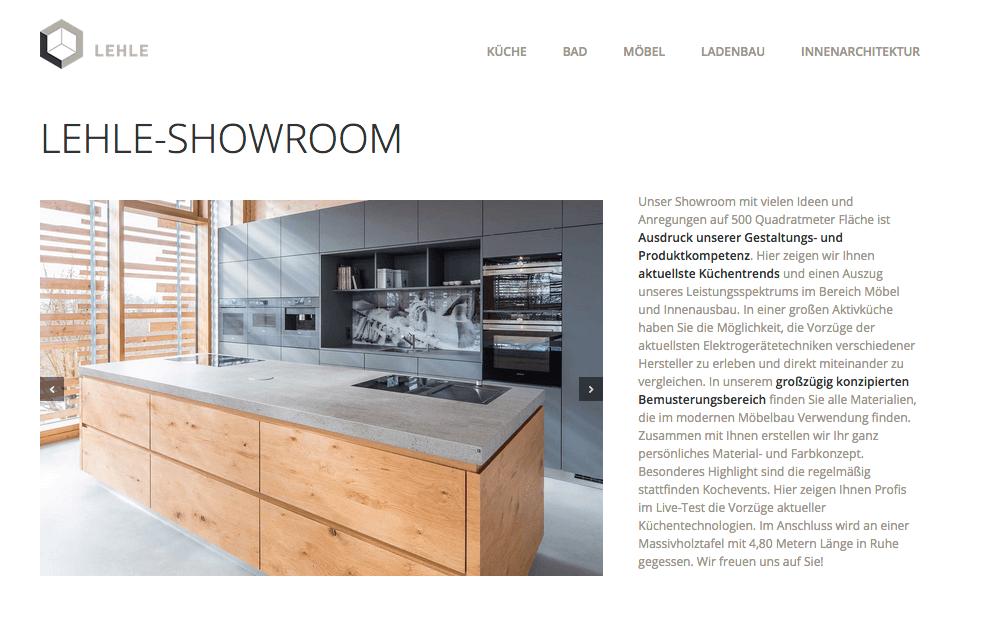 LEHLE Website SHOWROOM
