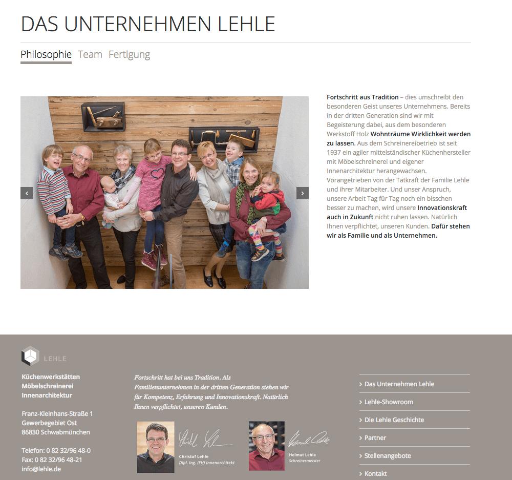 LEHLE Website FAMILIENUNTERNEHMEN