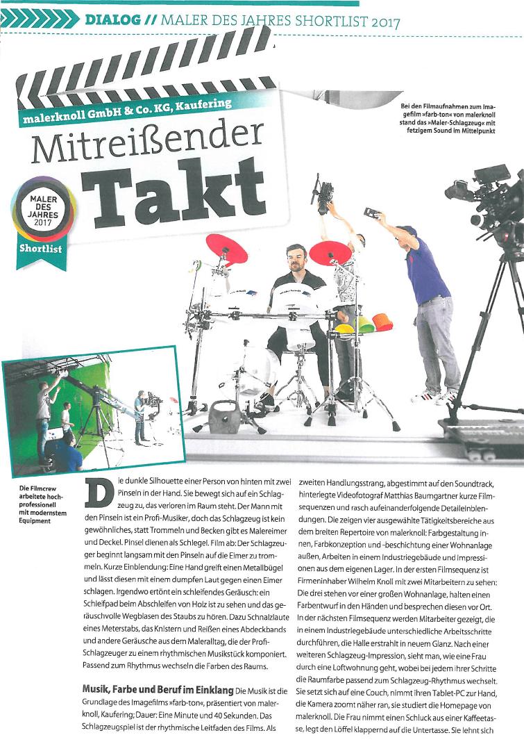 Seite 1: Artikel aus der Fachzeitschrift Mappe zum Imagefilm für Maler Knoll, Film&Foto Matthias Baumgartner Videofotografie