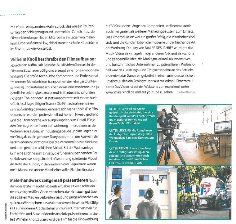 Seite 2: Artikel aus der Fachzeitschrift Mappe zum Imagefilm für Maler Knoll, Film&Foto Matthias Baumgartner Videofotografie