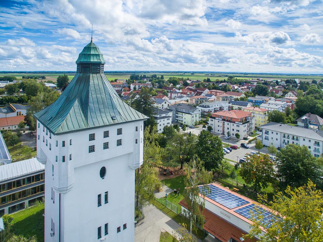 Wasserturm Schwabmünchen, Luftaufnahme von Matthias Baumgartner