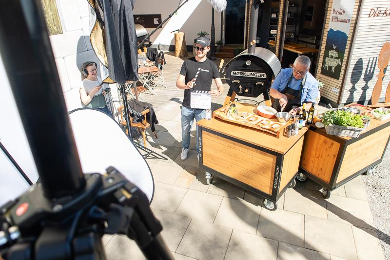 Making of vom Set bei der Kochvideo Produktion von Matthias Baumagartner beim Kochfest in Lindau am Bodensee