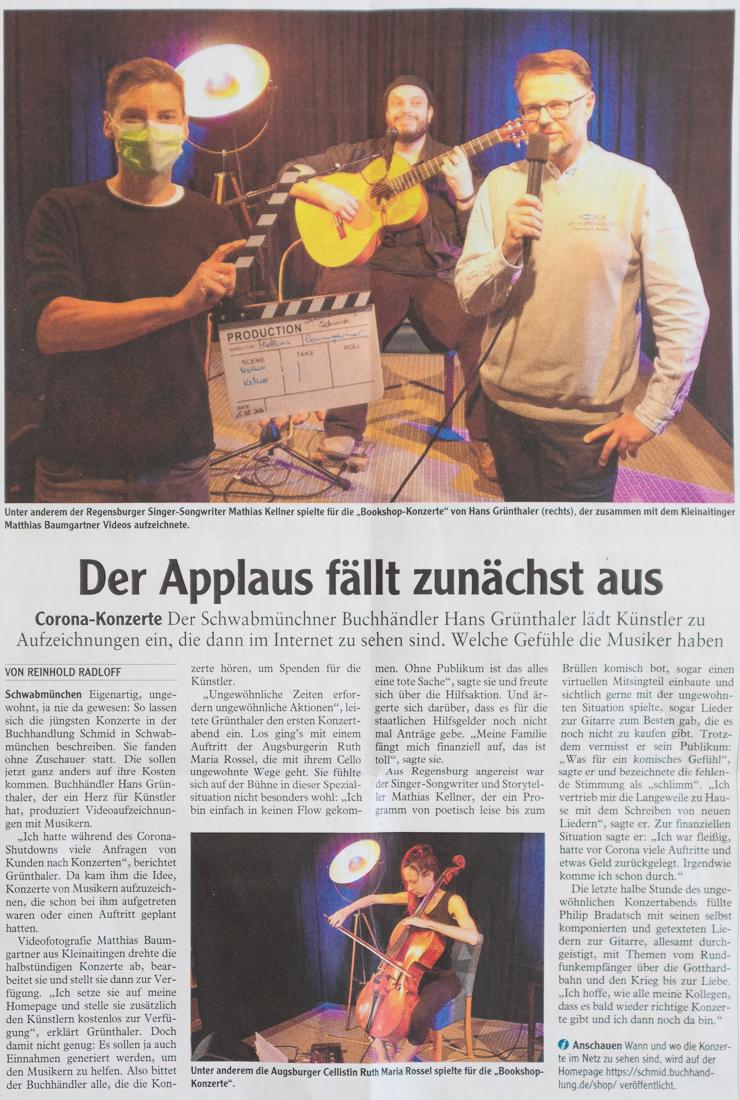 Artikel in der Schwabmünchner Allgemeine über das Projekt Bookshop Concert von Hans Grünthaler und Matthias Baumgartner