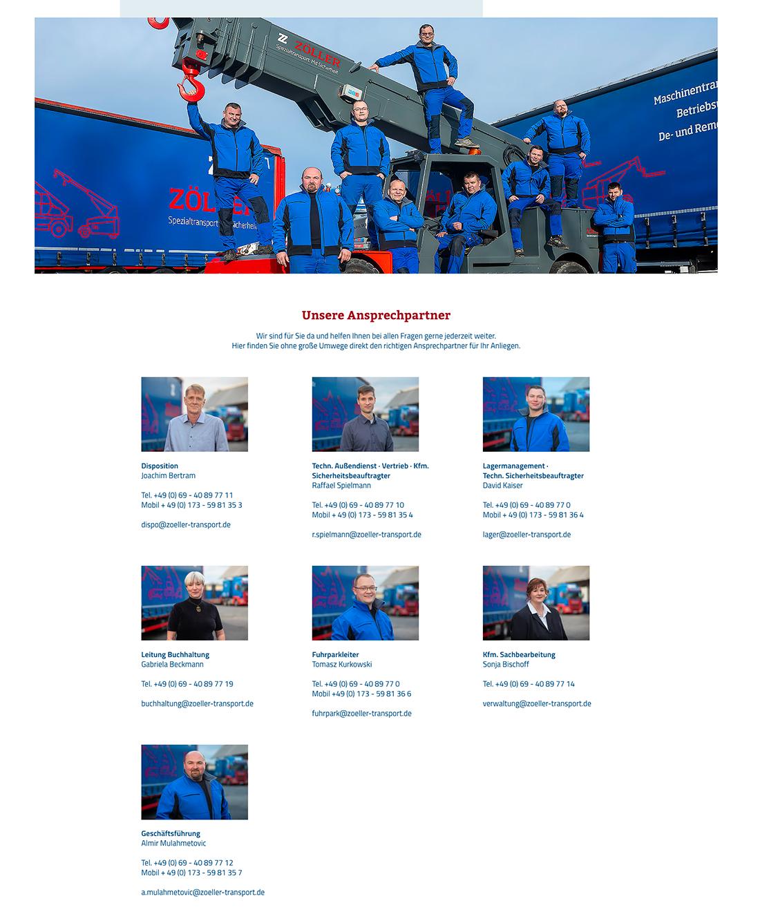 Die ANsprechpartner von Zöller Transporte GmbH aus Frankfurt am Main, Mitarbeiterportraits von Matthias Buamgartner