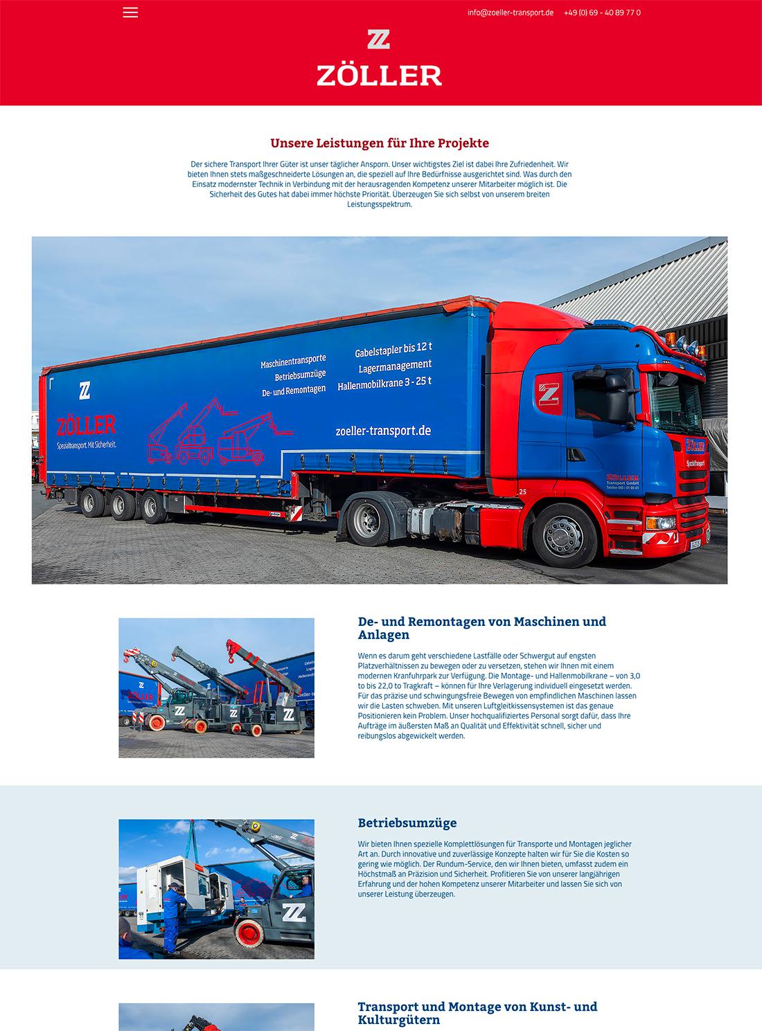 Website von Zöller Transporte aus Frankfurt im neuen Design mit Fotos von Matthias Baumgartner Werbefotografie