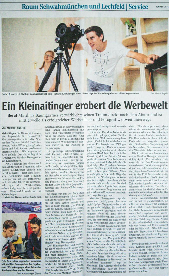 Ein Kleinaitinger erobert die Werbewelt, Artikel in der Augsburger Allgemeinen